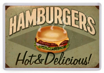 Hamburgers (Hot & Delicious) Fridge Magnet. Retro Diner Sign